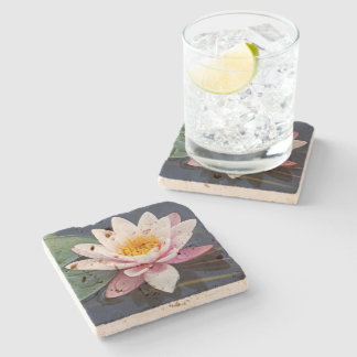 """""""PALE PINK, FULLY- OPENED LOTUS BLOSSOM"""" STONE COASTER"""