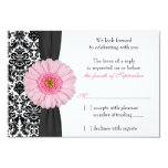 Pale Pink Gerber Daisy Damask Wedding RSVP Reply Card