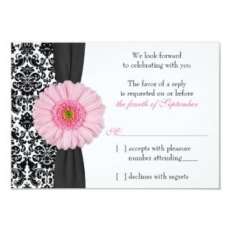 "Pale Pink Gerber Daisy Damask Wedding RSVP Reply 3.5"" X 5"" Invitation Card"