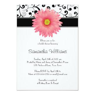 Pale Pink Gerbera Daisy Black Scroll Bridal Shower Card