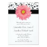 Pale Pink Gerbera Daisy Scroll Design Wedding Card