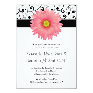 Pale Pink Gerbera Daisy Scroll Design Wedding Personalized Announcement