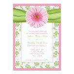 Pale Pink Gerbera Green Floral Wedding Invitation