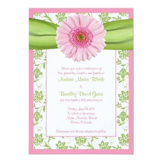 Gerbera Wedding Invitations: Pale Pink Gerbera Green Floral Wedding Invitation