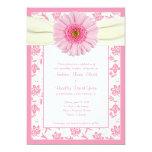 Pale Pink Gerbera Ivory Floral Wedding Invitation