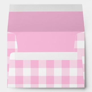 Pale pink gingham envelope