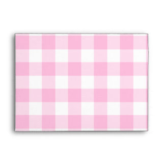 "Pale pink gingham pattern for 5x7"" envelopes"