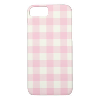 Pale Pink Gingham Pattern iPhone 7 Case