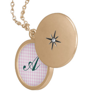 pale pink gingham white trendy girly cute country pendant