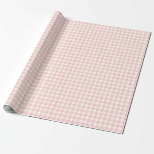 Pale Pink Gingham Wrapping Paper Zazzle Com