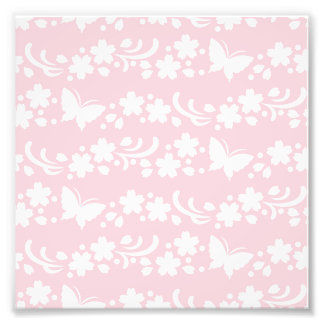 pale pink,girly,cute,floral,butterflies,pattern,ch photo print