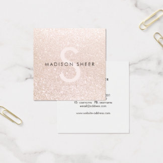 Pale Pink Glitter Beauty Stylist Monogram Square Business Card