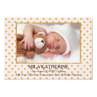 Pale Pink Gold Glitter Dots-3x5 Birth Announcement