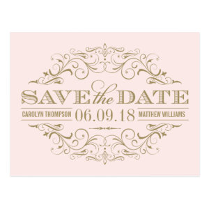 Pale Pink Gold Save the Date | Swirl and Flourish Postcard