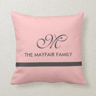 Pale Pink Gray Border Pillow Custom Style Monogram