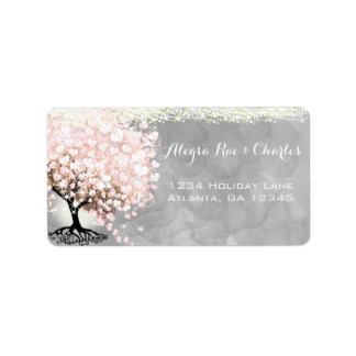 Pale Pink Heart Leaf Tree on Gray Watercolor Label