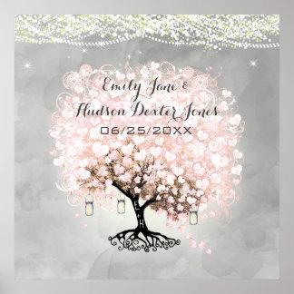 Pale Pink Heart Leaf Tree Wedding Poster