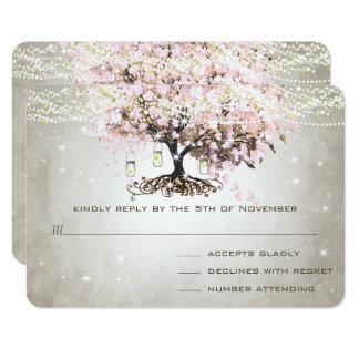 Pale Pink Heart Leaf Wedding RSVP Card