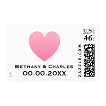 Pale pink heart love modern wedding Save the Date Postage Stamp
