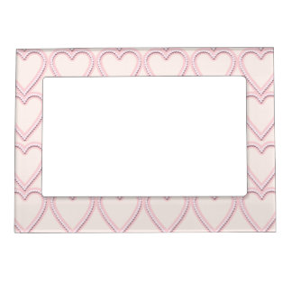 Pale Pink Hearts Magnetic Picture Frame