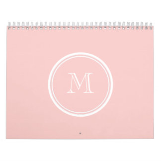 Pale Pink High End Colored Monogram Calendar