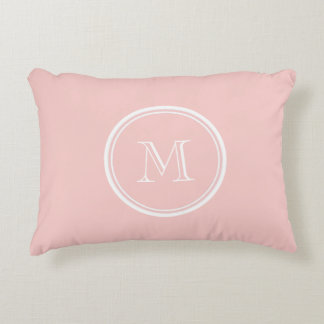 Pale Pink High End Colored Monogram Accent Pillow