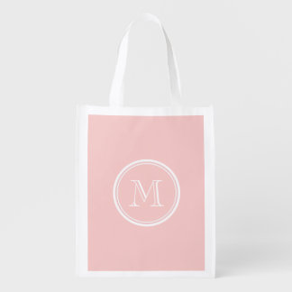 Pale Pink High End Colored Monogram Reusable Grocery Bag
