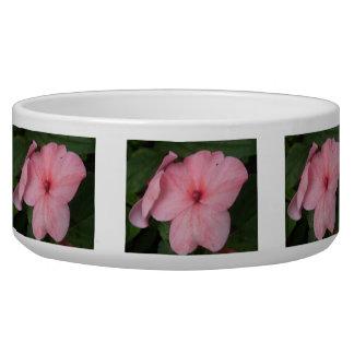 Pale Pink Impatiens Flower Dog Bowl