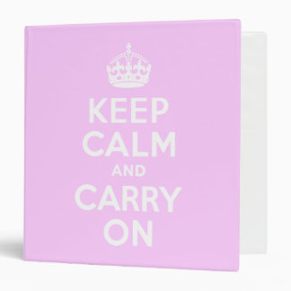 Pale Pink Keep Calm and Carry On 3 Ring Binders