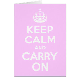 Pale Pink Keep Calm and Carry On Card