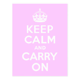 Pale Pink Keep Calm and Carry On Postcard