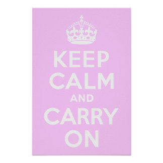 Pale Pink Keep Calm and Carry On Poster