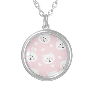pale pink,kittens,cute,girly,kauai,trendy,hearts silver plated necklace