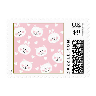 pale pink,kittens,cute,girly,kauai,trendy,hearts,w postage