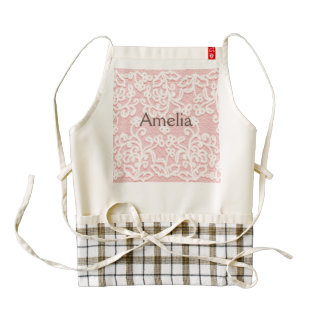 Pale pink lace,white,vintage,victorian,girly,cute, zazzle HEART apron