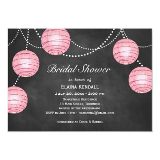 Pale Pink Lanterns on Chalk Bridal Shower Invite