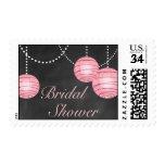 Pale Pink Lanterns on Chalk Bridal Shower Stamp