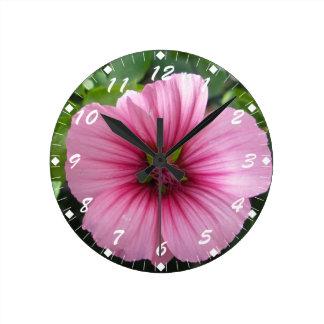 Pale Pink Lavatera Round Clock