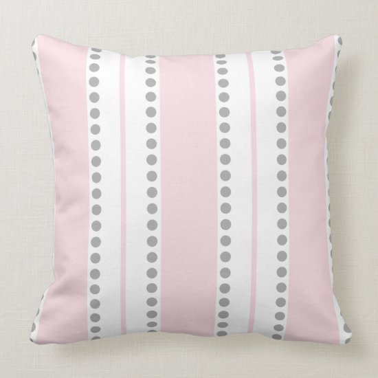 Pale Pink Light Gray White Polka Dots Stripes | Throw Pillow
