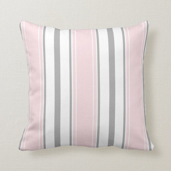 Pale Pink Light Gray White Stripes Pattern | Throw Pillow