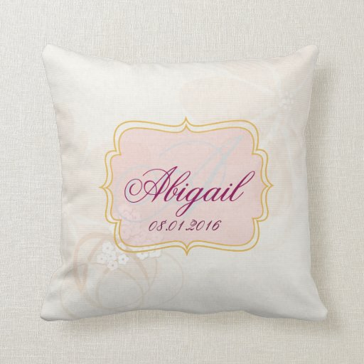 pale pink name tag throw pillow zazzle. Black Bedroom Furniture Sets. Home Design Ideas