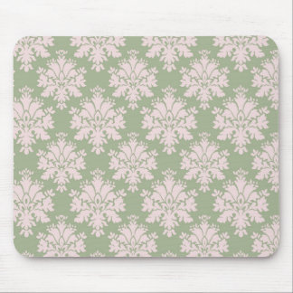 pale pink on sage green ornate damask pattern mouse pad