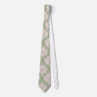 pale pink on sage green ornate damask pattern neck tie