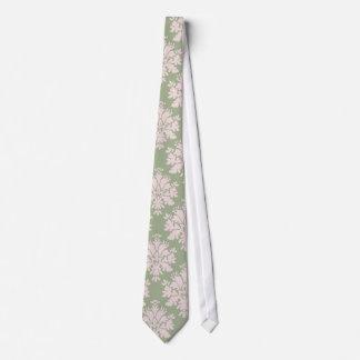 pale pink on sage green ornate damask pattern neck tie