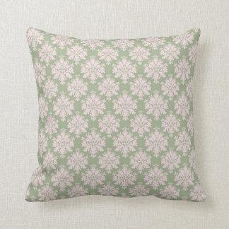 pale pink on sage green ornate damask pattern pillows