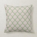 pale pink on sage green ornate damask pattern throw pillow