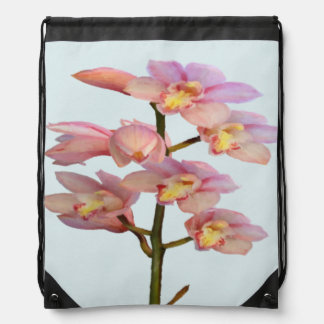 Pale Pink Orchid Drawstring Bag