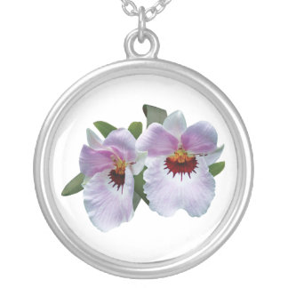 Pale Pink Orchids Round Pendant Necklace