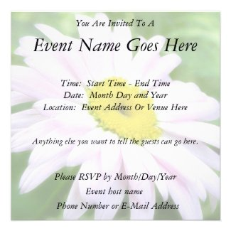 Pale Pink Painted Daisy Announcement