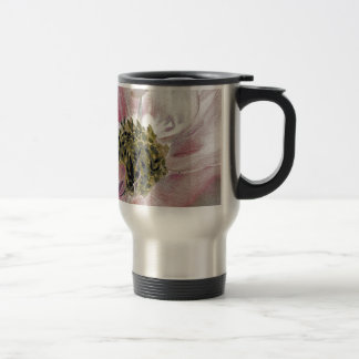 Pale pink pastel flower with yellow center travel mug